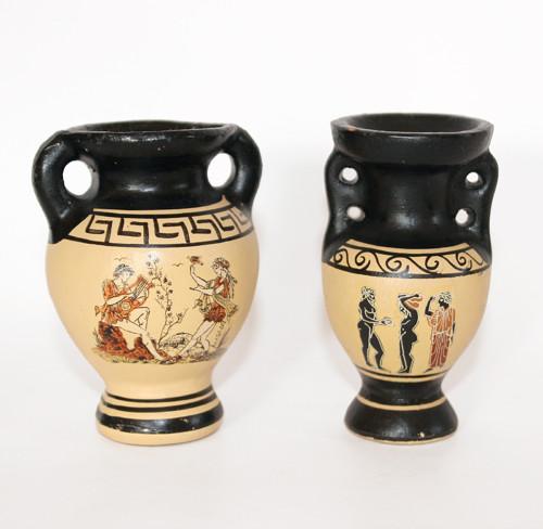 2x keramická AMFORA s řeckým motivem