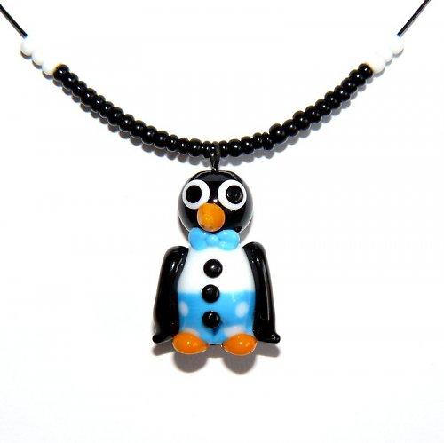 Tučňák v modrých kalhotech - vinutá perle