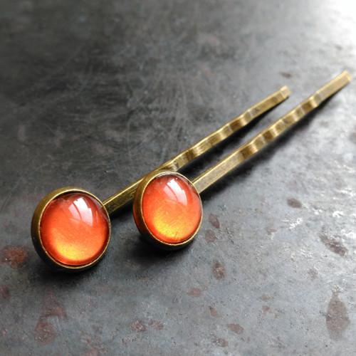 Sponky do vlasů - oranžové - 2 ks