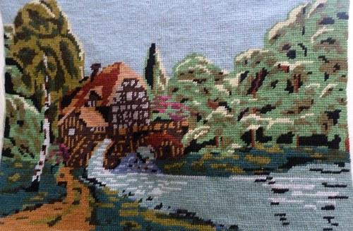 Krajinka s potokem - vyšívaný obraz