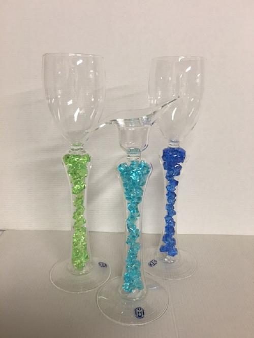 sklenička-svícen-lampička s křišťály