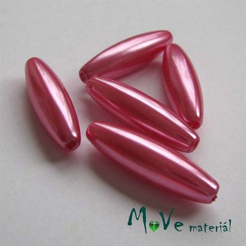 Korálky plast olivka 10x30mm, růžová, 5ks