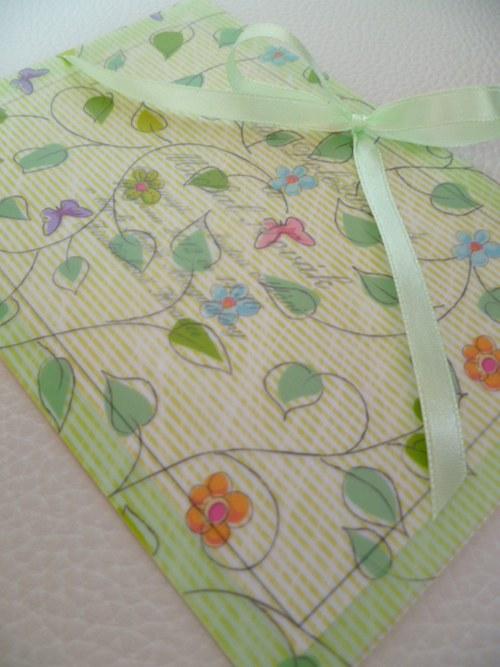 zelenkavé svatební oznámení,pergamenový papír