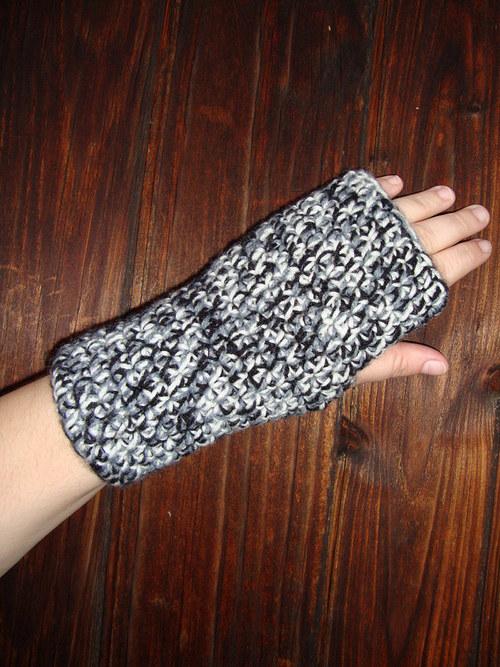 Bezprstové rukavice černý melír