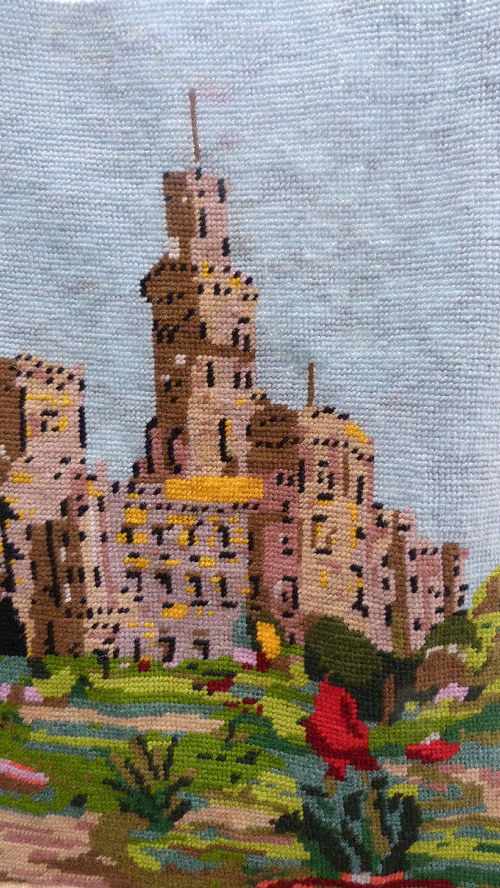 Romantický hrad - vyšívaný obraz