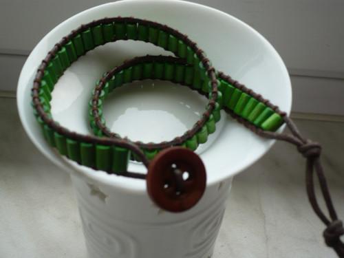 Náramek WRAP zelený - 2 otočky
