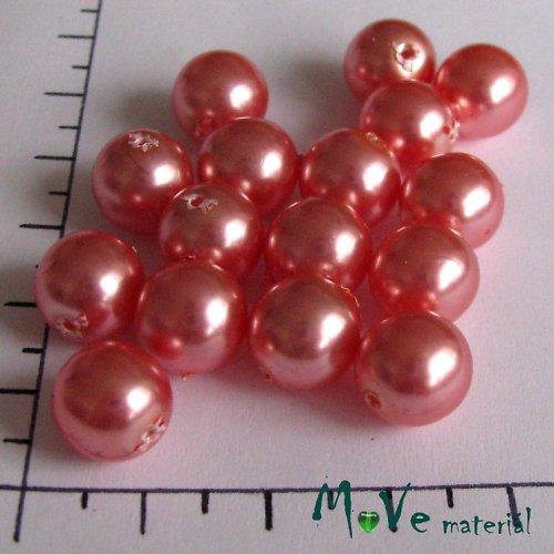 České voskové perle tmavě lososové10mm16ks(cca20g)