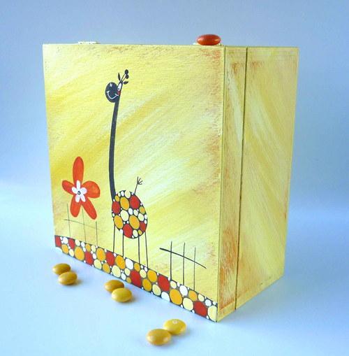 krabice na 4 ponožky - žlutá s žirafou