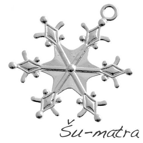 Přívěsek stříbrný-vločka, 25 mm (4 ks)