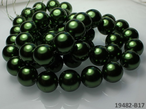 19482-B17 Voskované perly 16mm TM.ZELENÉ, bal. 2ks