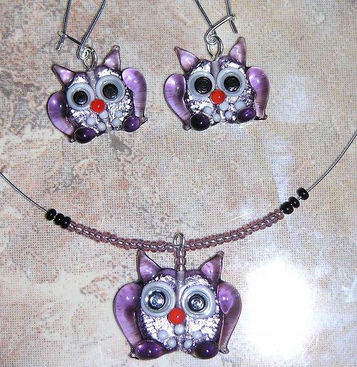 Náhrdelník a náušnice -  sova fialová