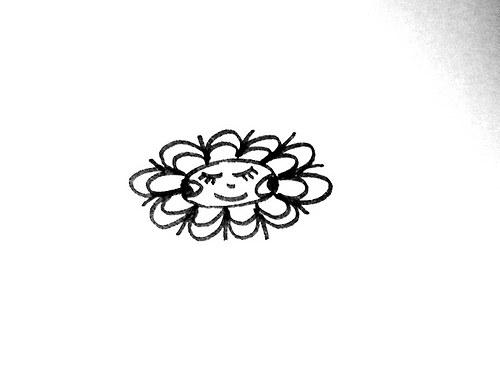 Sluníčko jako květ... Omyvatelné razítko.