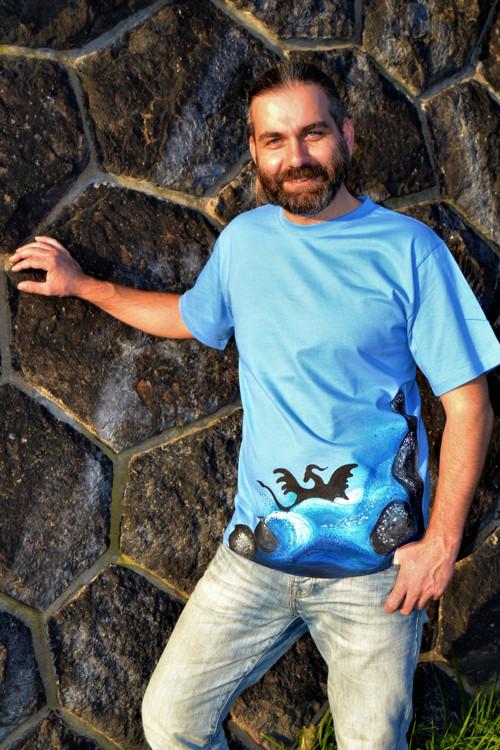 Pánské dračí triko element vody