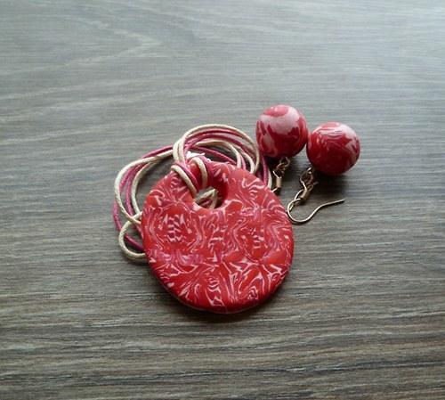Červený náhrdelník + náušnice