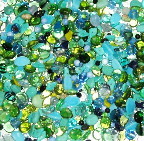 Skleněné korálky - mix modro-zelená