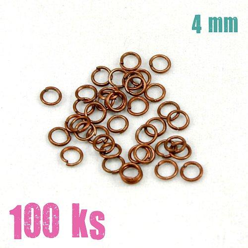 Měděné kroužky 4 mm (100 ks)