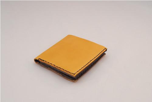 Kožená peněženka-žlutá-hnědá