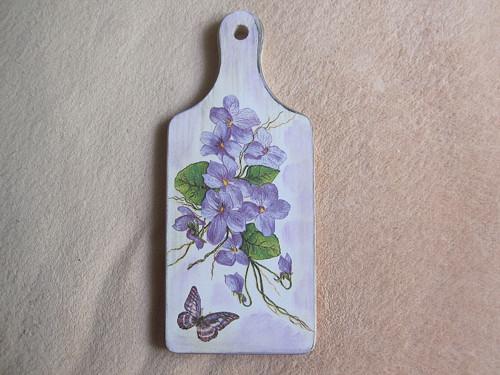 Dřevěné prkénko střední 28*12cm Květy