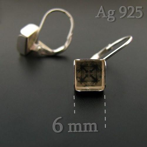 Náušnice s lůžkem (čtverec 6mm) stříbro Ag925