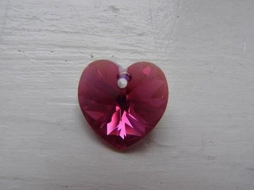 Swarovski srdce 18 mm - Fuchsia AB