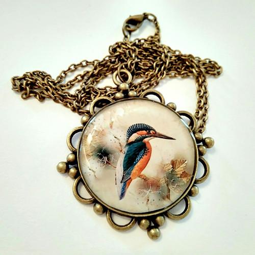 Vintage medailon dlouhý S ledňáčkem