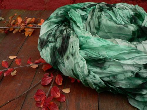 Hedvábný šál velký 180 x 90 cm zelenkavý
