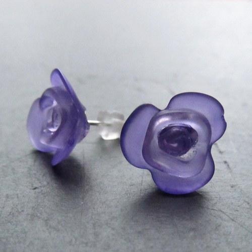 Náušnice puzetky kytičky fialová