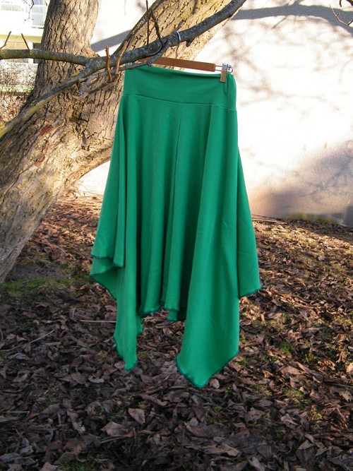 Cípatá sukně rezavě zelená