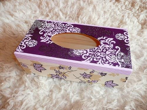 Krabička na kapesníky - fialové ornamenty