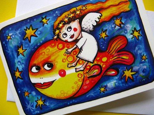 Anděl na rybě - přání