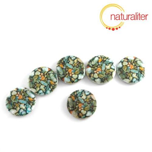 Perleťový korálek - placka se zeleným motivem 30mm