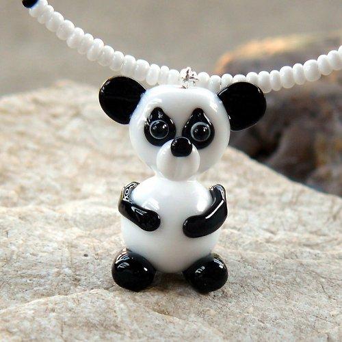 Náhrdelník - medvěd PANDA - vinutá perle