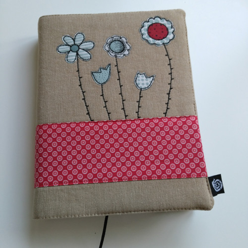 Nastavitelný obal na knihu květinkový
