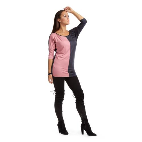 Dvoubarevná tunika DARA / růžová+antracit