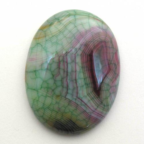 Kabošon zelený dračí achát ovál 40mm