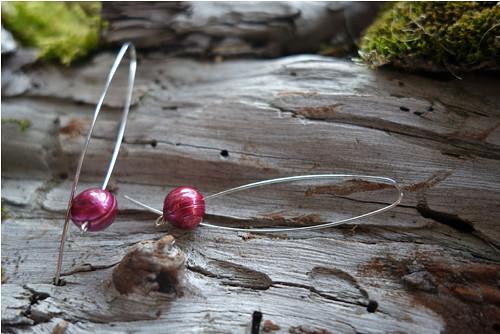 Náušnice s říčními perlami (vínové)