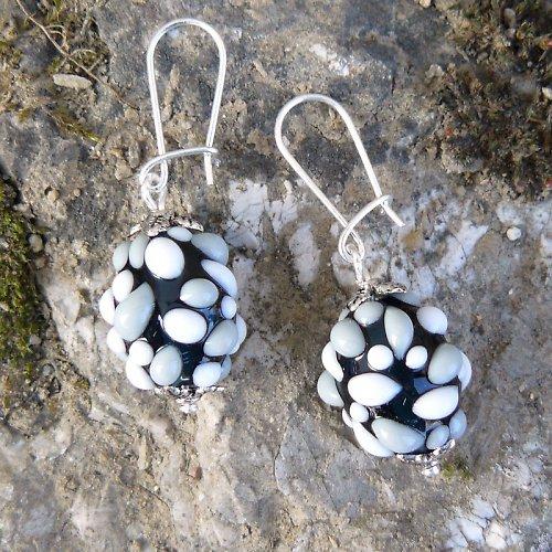 Náušnice - šedé mozaikové olivy