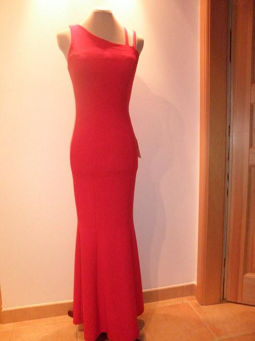 Dlouhé červené společenské šaty 51c-vel.36