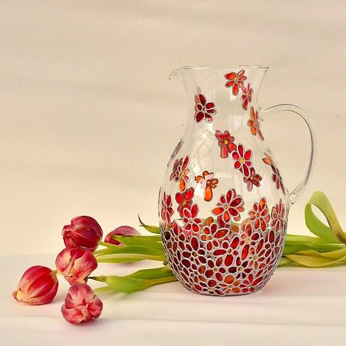 Skleněný džbán červený (1,5l)