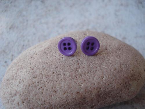 Náušnice - fialkové knoflíčky
