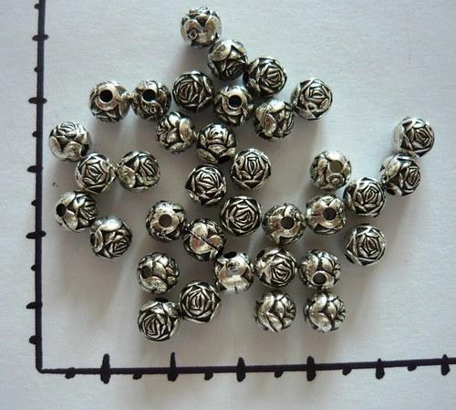 Pokovená kulička  -růže starostříbro, 6ks
