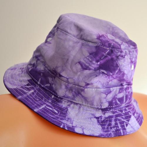 Batikovaný dětský klobouček - modrofialový