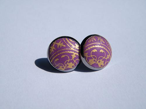 "Náušničky \""fialové ornamenty v lůžku\"""