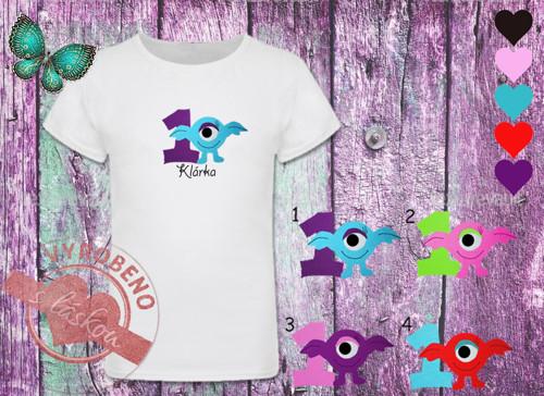 Dívčí narozeninové tričko s příšerkou