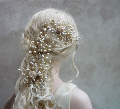 Svatební ozdoba do vlasů Claudine champagne gold