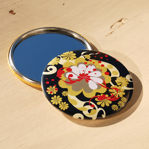 Zrcátko květinový ornament (75 mm) s pytlíčkem