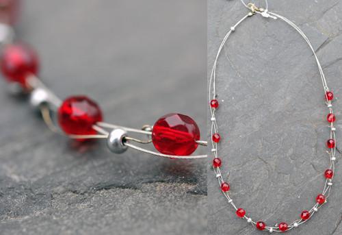 Náhrdelník červený N0264R