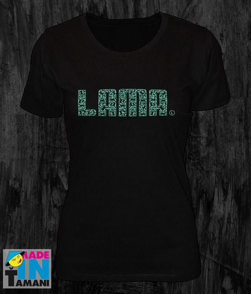 Dámské černé tričko s Lamou potisk 04