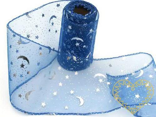 organza modrá se stříbrným vzorem, š=10 cm; 1 m