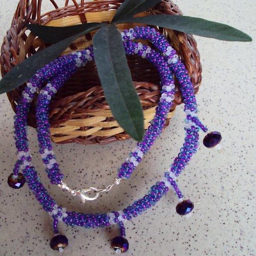 Fialové kapky...náhrdelník